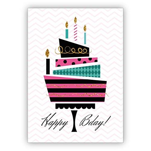 Coole retro-designer verjaardagskaart met vintage taart: Happy Bday! • Mooie wenskaarten met enveloppen zakelijk & privé 16 Grußkarten