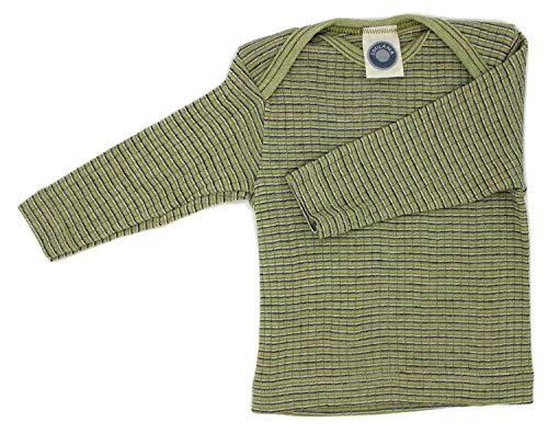 Cosilana Baby Schlupfhemd, Größe 74/80, Farbe Grün-Pflaume-Natur - Exclusiv Wollbody®GmbH - Qualität 91 45% Baumwolle KBA, 35% Schurwolle kbT, 20% Seide