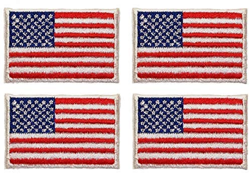 4 Patches - Small American USA Flag Iron/Sew on Patch