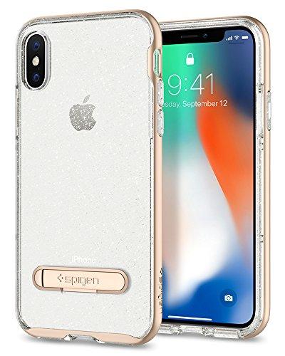 Spigen Funda iPhone X, [Crystal Hybrid Glitter] Water-Mark Libre TPU y Kickstand de Metal magnético para iPhone X (2017) [Gold Quartz]