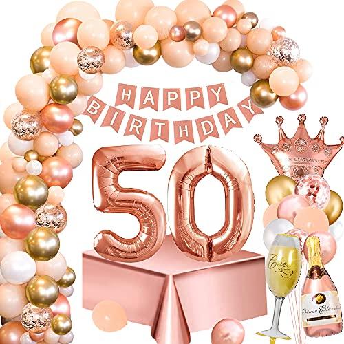 Cumpleaños Decoraciones Mujeres 50 Años, Decoración Fiesta Oro Rosa con 50 Globos Nymber, Pancarta Feliz Cumpleaños, Mantel Oro Rosa, Oro Rosa Globos para Decoraciones Fiesta Cumpleaños 50 Mujeres