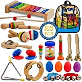 SMART WALLABY Toddler Musical Instruments Set, 25 pcs Wooden Educational Music...