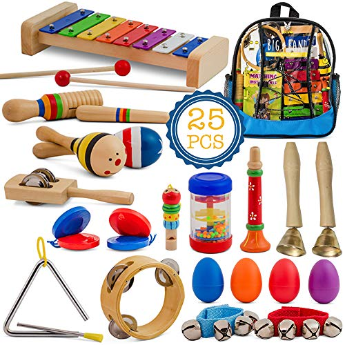 SMART WALLABY Toddler Musical Instruments Set, 25 pcs Wooden Educational Music Toys Percussion Kit for Kids with Xylophone and Storage Backpack. Big Band