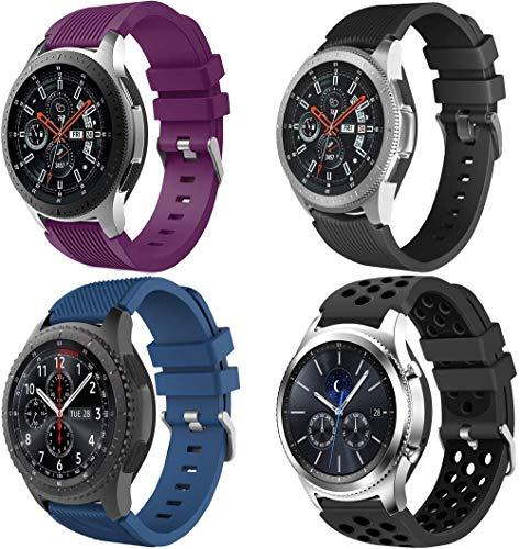Simpleas Correa de Reloj Recambios Correa Relojes Caucho Compatible con Galaxy Watch 46mm / Watch 3 45mm / Gear Live - Silicona Correa Reloj con Hebilla (22mm, 4PCS C)