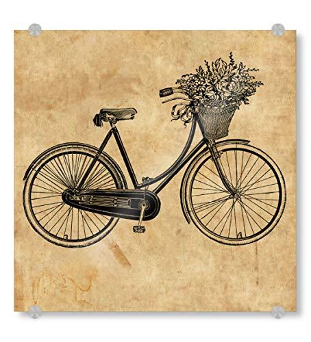 artboxONE Acrylglasbild 20x20 cm Reise Fahrrad und Blumen Bild hinter Acrylglas - Bild Fahrrad Blumen Vintage Fahrrad