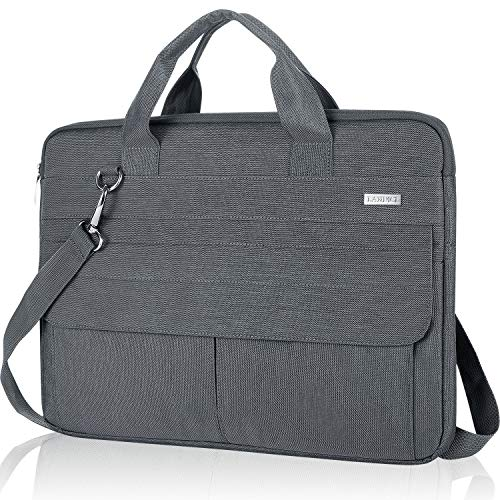 Landici 360 Protective 17 17.3 inch Laptop Bag Case with Shoulder Strap, Waterproof Computer Sleeve Cover Compatible with MacBook, Dell Asus Acer Hp Envy, Messenger Bag with Accessory Pocket-Grey