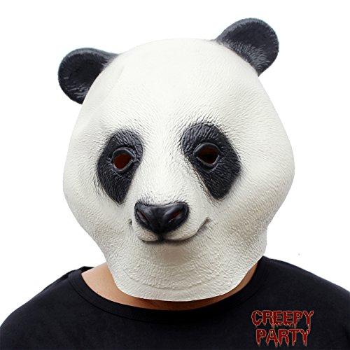 CreepyParty Halloween Kostüm Party Tierkopf Latex Maske Panda Karneval Masken
