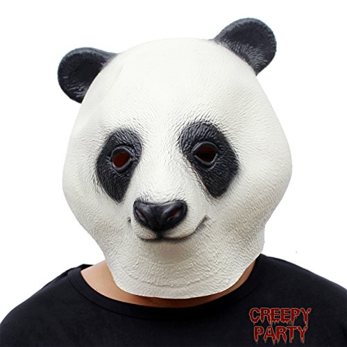 CreepyParty Festa in Costume di Halloween Maschera in Lattice a Testa di Animale Panda