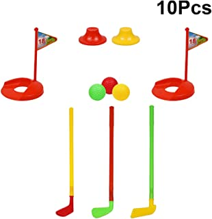 TOYANDONA 10 Piezas Juego de Golf para Niños, Juego de Palos de Golf de Plástico Colorido Juego de Deportes de Golf para Niños Y Niñas