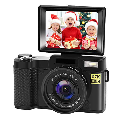 Digital Camera Vlogging Camera with YouTube 24MP 2.7k Full HD Camera with Flip Screen 180 Degree Rotation