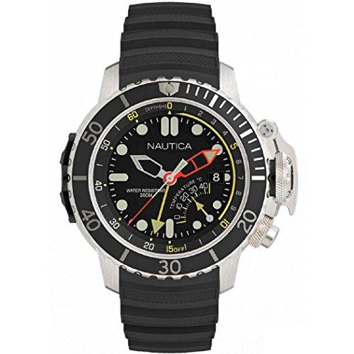 Nautica Nai47500g - Orologio da polso al quarzo analogico - quadrante nero cinturino in gomma nera