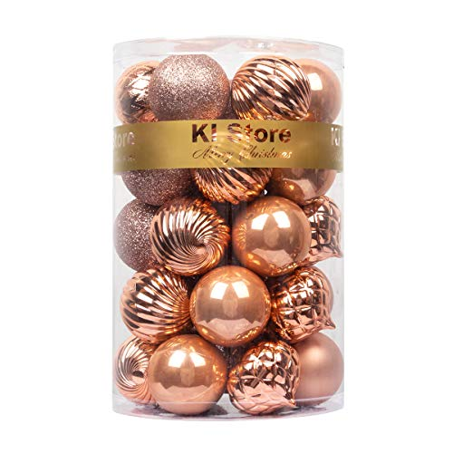 KI Store Christmas Balls Rose Gold Shatterproof Christmas Tree Ball Ornaments Decorations for Xmas Trees Wedding Party Home Decor 2.36-Inch Hooks Included