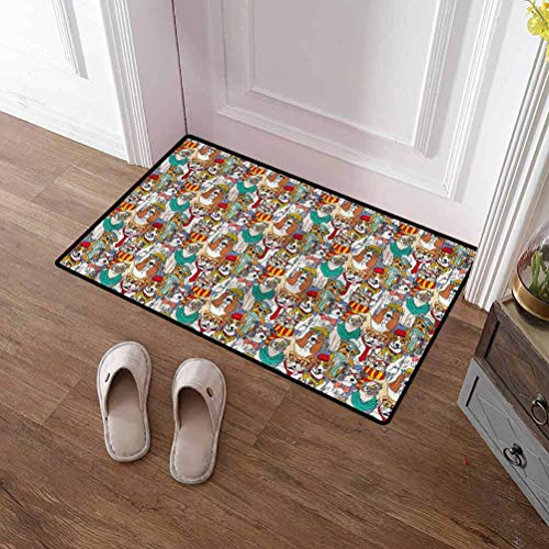 SCOCICI1588 Pet Mat Dog, Hipster Bulldog Pug Absorbs Mud Doormat for Kitchen/Bathroom/Front Porch/Decor 24 x 35 Inch