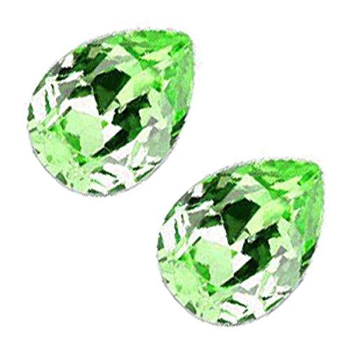 GWG Jewellery Pendientes Mujer Regalo Pendientes, Chapados en Plata de Ley Cristal Brillante Gota de Agua de Color Peridoto Verde para Mujeres
