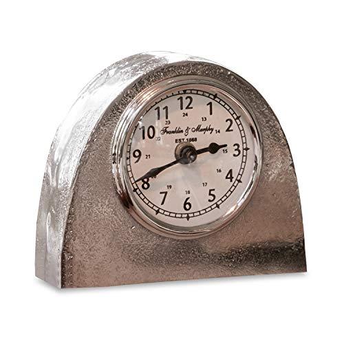 Loberon Uhr Brigitta, Aluminium/Glas, H/B/T ca. 11,5/13,5/6 cm, Silber