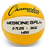 Champion Sports Exercise Medicine Balls, 6-7 lbs, Leather with No-Slip Grip - Weighted Med Ball Set for Weight Training, Stability, Plyometrics, Cross Training, Core Strength - Heavy Workout Ball