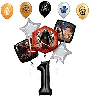 Star Wars 1st Birthday Party Supplies Foil Balloon Bouquet Decorations with 5pc Star Wars 11