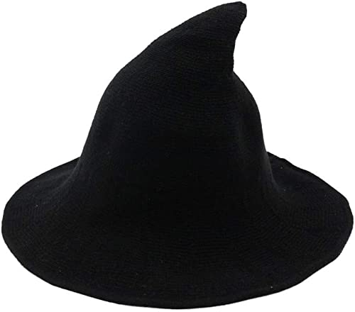 Fekey&JF Women's Witch Kinitted-Wool Hats, for Halloween Party Masquerade Cosplay Costume Accessory and Daily