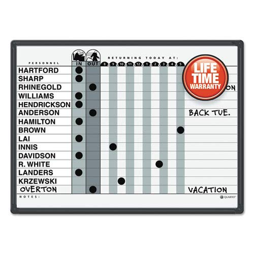 Magnetic Employee In/Out Board, Porcelain, 24 x 18, Gray/Black,...