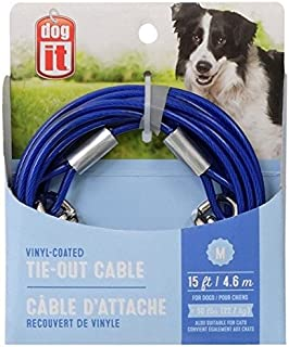 Avenue Tether Dog Tie-Out Cable, Medium, 15-Feet, Blue