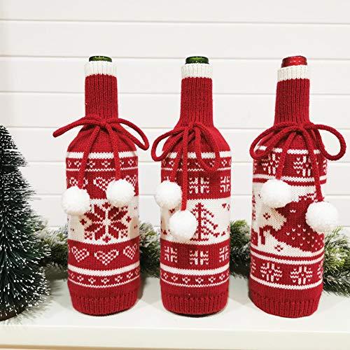 Dizie 3 Stück Weinflaschen, Champagner, Strick, Kordelzug, Geschenktüten, Weihnachten, Schneeflocke, Rentier, Weihnachten, für Party, Weihnachten