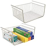 mDesign Household Metal Under Shelf Hanging Storage Bin Basket with Open Front for Organizing Kitchen Cabinets, Cupboards, Pantries, Shelves - Large, 2 Pack - Satin