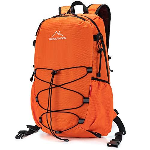 HawLander Packable Hiking Backpack Foldable Day pack for Travel, Orange, Large 40L
