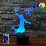 3D Basket Luce Della Notte LED Lampada 7/16 Cambiamento di Colore Lampada da Tavolo USB Power Telecomando Giocattoli per Bambini Decor Decorazioni di Natale Regalo di Compleanno