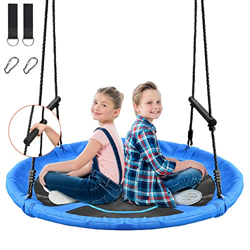 Treeswin Saucer Tree Swing 46 Inch 800 lb Weight Capacity Outdoor Flying Swing with Tree Strap Textliene Fabric Waterproof Durable Steel Frame and Carabiner for Playground and Backyard Blue