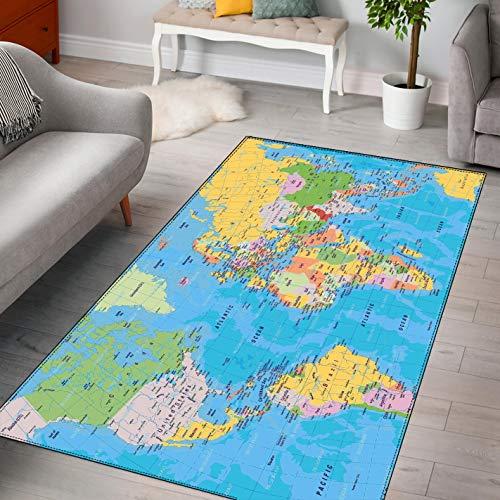 LGXINGLIyidian Alfombra Mapa del Mundo Creativo Y Hermoso Alfombra Suave Antideslizante para Decoración del Hogar Impresa En 3D F-636T 60X100Cm