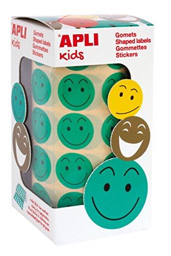 APLI Kids - Rollo de gomets redondos, adhesivo removible, cara feliz, 20 mm, verdes