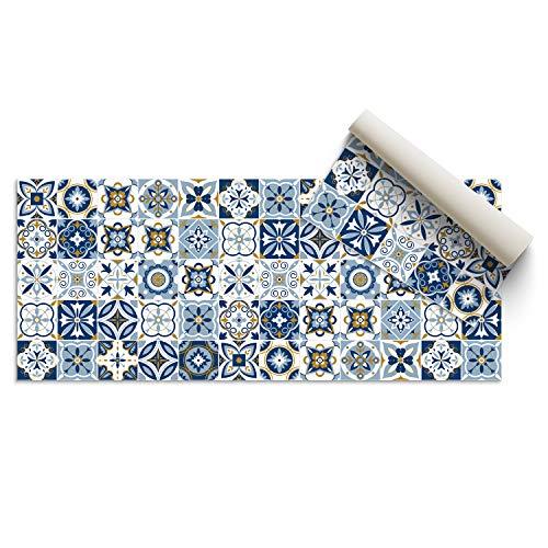 DON LETRA Alfombra Vinílica Baldosa, 140 x 50 x 0.2 cm, Color Azul, Vinilo, ALV-075