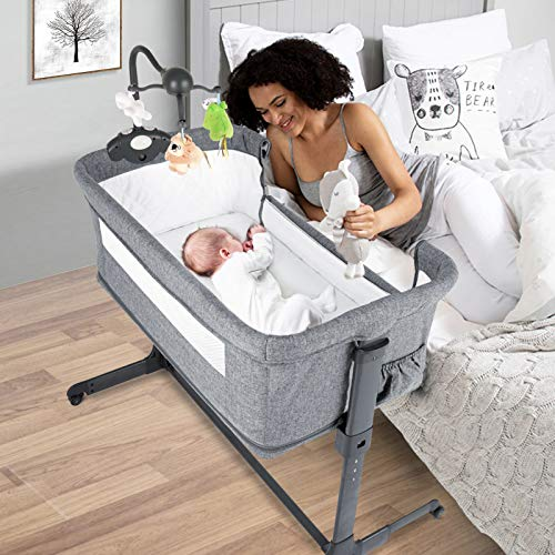 BANIROMAY 4 in 1 Baby Bassinet Bedside Sleeper Baby Co Sleeper Gaming Bed Adjustable Portable Newborn Girls Boys Baby Crib with Mattress Breathable Mesh 4 in 1
