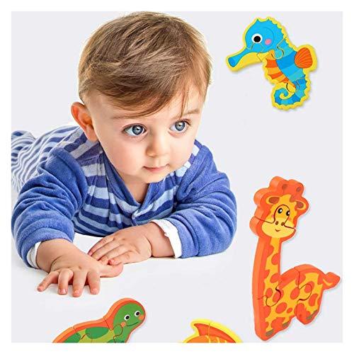 ZHIZI Juguetes para primera infancia Puzzles de animales de dibujos animados de madera, juguetes educativos para niños y niñas, con doce tipos de tráfico y patrones de animales en formas de color bril