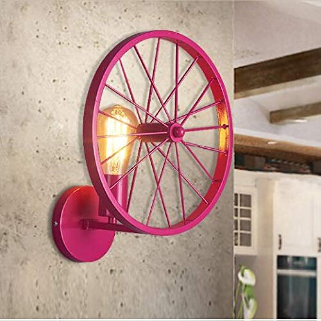 酸度こっそり燃やすE27アメリカのレトロな産業壁ランプアンティーク錬鉄ホイールウォールライトノスタルジックなレストランバー装飾壁取り付け用燭台 (Color : Pink)