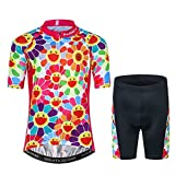 Kids Cycling Jersey Set Cartoon Short Sleeve Bike Top for Boy Girl with 3D Padded Shorts Simle Size M