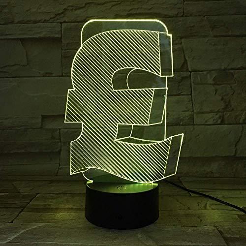Brits pond symbool 3D licht binnen-USB 3D lichte kleurvariabel kantoor decoratie geleid nachtlampje voor vriend/zakengeschenken, nieuwe cadeaus
