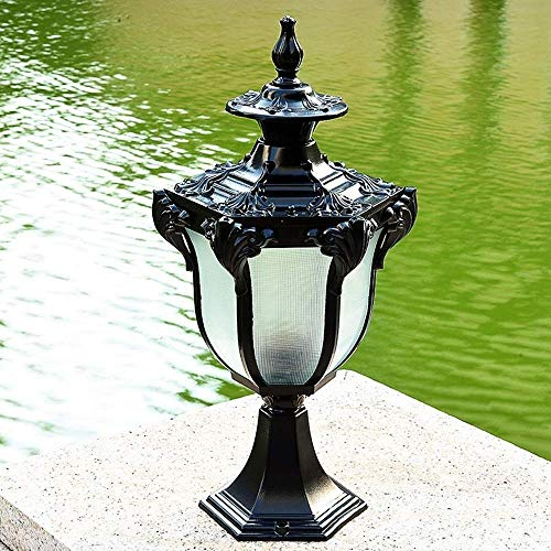 SYyshyin 43CM Lámpara de poste de pared de estilo europeo Lámpara de pared de jardín Lámpara de puerta Lámpara de puerta Villa impermeable al aire libre Lámpara de decoración de puerta de jardín retro