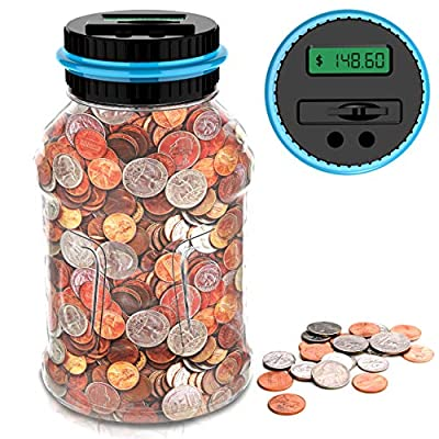 GIFTiz Large Digital Coin Counting Money Saving Jar Change Counter Piggy Bank for Kids & Adults | Supports All US Coins - Pennies, Nickels, Dimes, Quarters, Half Dollars, & Dollar Coins by GIFTiz