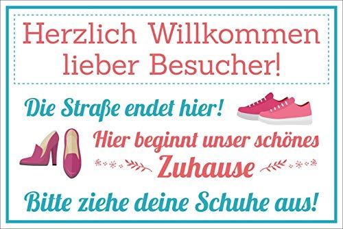 WERBEPUNKT. Vintage Shabby Holzschild Schuhe ausziehen Straße endet Hier Geburtstag Geschenk
