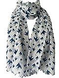 Purple Possum® White Scarf Navy Blue Bird Print Ladies Fair Trade Shawl Wrap, Birds Cotton Scarf, Swallows