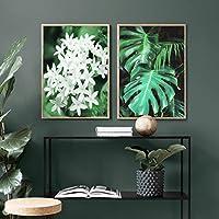 """ウォールアートキャンバスジャスミンフラワーフレッシュグリーンプラントリーフポスターとプリントリビングルームの家の装飾のための壁の写真19.6"""" x 27.5""""(50x70cm)フレームなし×2"""