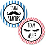 Deluxe Gender Reveal Party Stickers, Team Staches and Team Lashes, Baby Shower Voting Labels, Party Supplies Decorations Games, Pink and Blue 60 Pack- 30 of each design -  Pink Pixie Studio