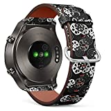 S-Type Quick Release Leather Bracelet Watch Band Strap Replacement Wristband Compatible for Huawei Watch 2 Classic - BW Pattern with Lotus Root