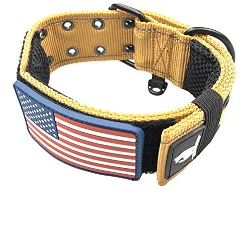 Dog Collars K9 Harness Tactical Military Style - 2' Two Inch Wide Heavy Duty Thick Nylon Webbing For Strong Large XL Big Dogs - Metal Two Pin Belt Buckle - USA American Flag Patch (12'-20', TAN)