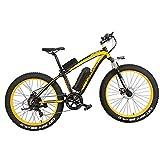 LANKELEISI XF4000 Bicicleta Eléctrica 500W/1000W 7-speed Fat Tire Mountain Bike Adulto Suspensión Completa Freno de Disco Hidráulico, Batería de Litio 16Ah (Negro y Amarillo, 1000W)