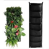 UUMFP Jardiniere Suspendue, Sacs de Culture imperméables pour Les Plantes, fixé au Mur, extérieur intérieur verdissement récipient de Fleurs Jardinage Pochette de Plantes de Maison - Noir 7 Poches