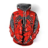 TARPPE Saco con Capucha 3D Venom Mujeres superhéroe Spiderman Cosplay for Adultos con cordón Sudadera con Capucha de la Camiseta de Halloween Uniforme Jersey de Cosplay (Color : Red, Size : L)