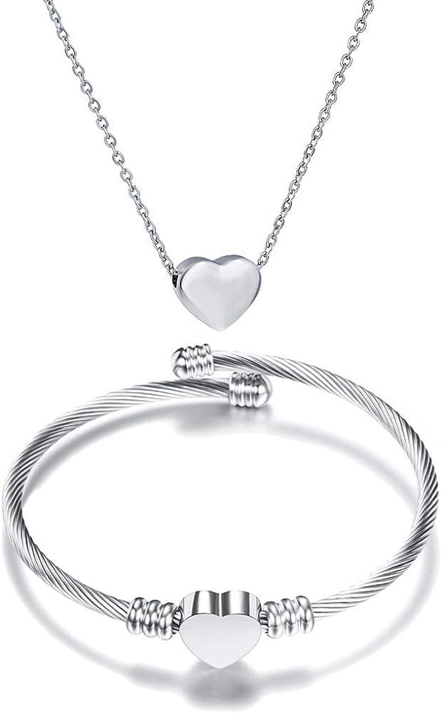 NIBASTAR Free Engraved Heart Jewelry Set Stainless Steel Necklace Bracelet for Women Girls