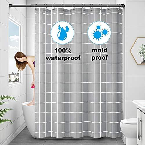 YiWeel Wasserdichter Duschvorhang, Gewichteter Saum, Anti-Schimmel-Duschvorhang Badezimmer 180x180, Grau Duschvorhänge Mit 14 Metallhaken